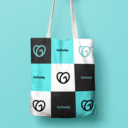 Go Daddy Tote Bag, checkered blue white and black colored